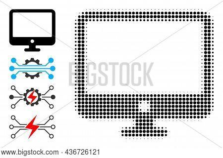 Dot Halftone Computer Display Icon, And Bonus Icons. Vector Halftone Composition Of Computer Display