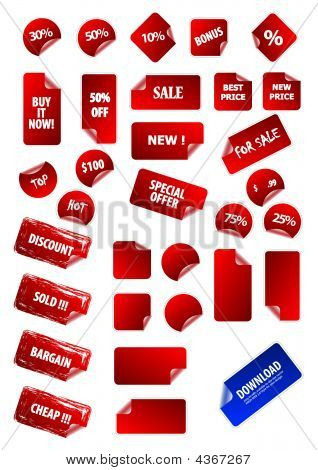Big Collection Of Vector Sticky Price Labels For Marketing And Advertisement. Easy To Edit, Any Size