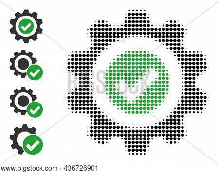 Pixelated Halftone True Gear Icon, And Original Icons. Vector Halftone Concept Of True Gear Icon Com