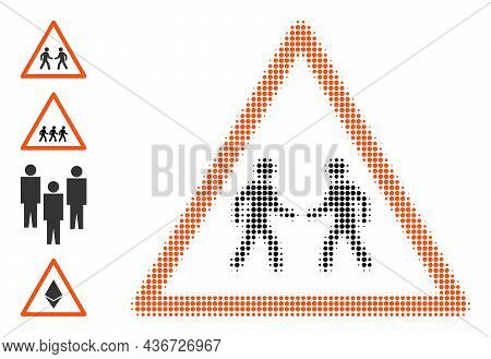 Pixel Halftone Men Meeting Warning Icon, And Source Icons. Vector Halftone Concept Of Men Meeting Wa