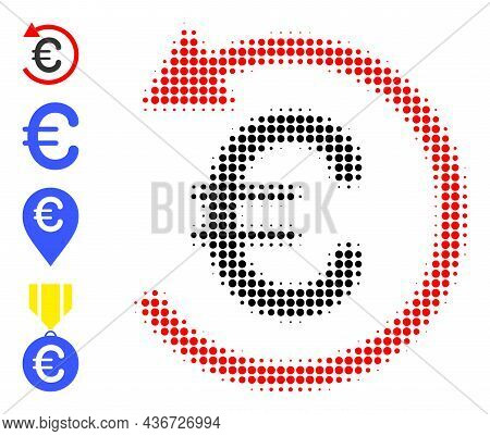 Pixel Halftone Euro Refund Icon, And Source Icons. Vector Halftone Pattern Of Euro Refund Icon Creat