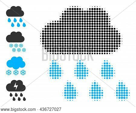 Pixel Halftone Rain Weather Icon, And Additional Icons. Vector Halftone Mosaic Of Rain Weather Icon