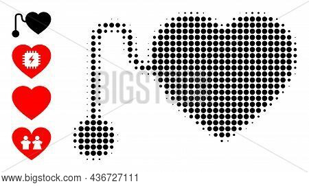 Dotted Halftone Pacemaker Icon, And Original Icons. Vector Halftone Pattern Of Pacemaker Icon Design