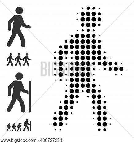 Pixelated Halftone Pedestrian Man Icon, And Other Icons. Vector Halftone Collage Of Pedestrian Man I