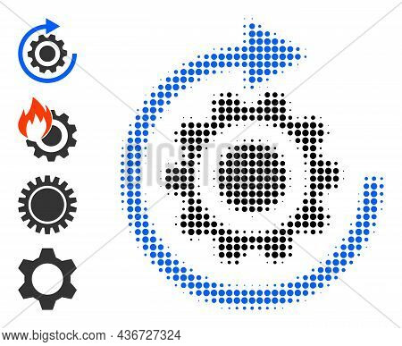Pixel Halftone Gear Rotation Icon, And Other Icons. Vector Halftone Collage Of Gear Rotation Icon Do