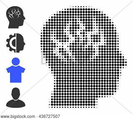 Dot Halftone Brainstorm Icon, And Original Icons. Vector Halftone Composition Of Brainstorm Icon Cre