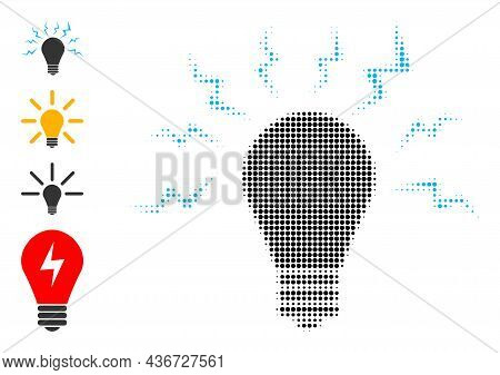 Dotted Halftone Ultraviolet Bulb Icon, And Source Icons. Vector Halftone Composition Of Ultraviolet