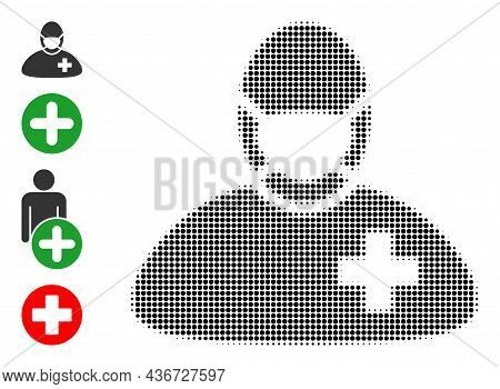 Dotted Halftone Surgeon Doctor Icon, And Original Icons. Vector Halftone Concept Of Surgeon Doctor I