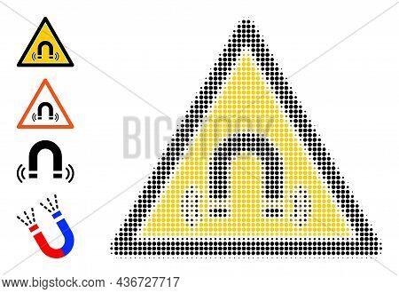Dot Halftone Magnet Field Danger Icon, And Bonus Icons. Vector Halftone Pattern Of Magnet Field Dang