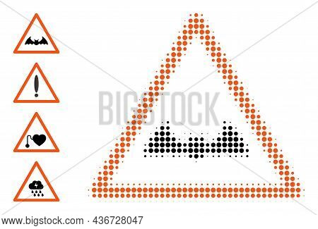 Pixelated Halftone Bat Warning Icon, And Source Icons. Vector Halftone Composition Of Bat Warning Ic