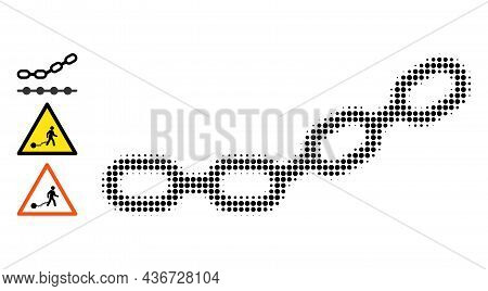 Dot Halftone Chain Icon, And Bonus Icons. Vector Halftone Mosaic Of Chain Icon Combined Of Spheric E