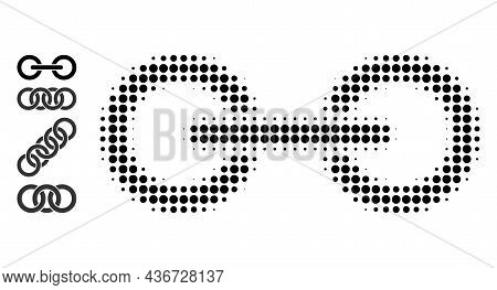 Pixelated Halftone Chain Link Icon, And Source Icons. Vector Halftone Composition Of Chain Link Icon