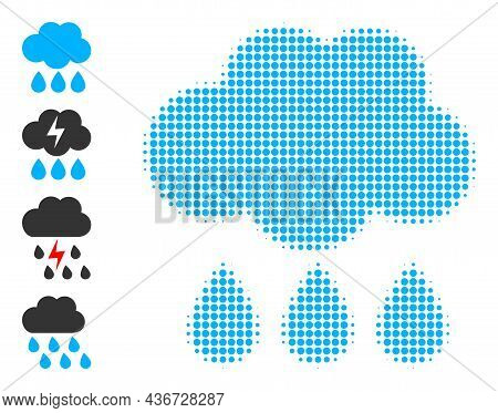 Pixel Halftone Rain Cloud Icon, And Additional Icons. Vector Halftone Mosaic Of Rain Cloud Icon Orga