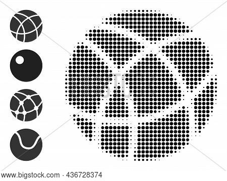 Dotted Halftone Clew Ball Icon, And Bonus Icons. Vector Halftone Composition Of Clew Ball Icon Made