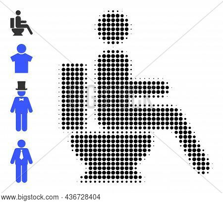 Pixelated Halftone Toilet Sitting Person Icon, And Bonus Icons. Vector Halftone Composition Of Toile