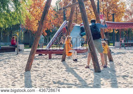 Krasnodar, Russia - October 18 2021: Autumn Park And Childrens Playground.