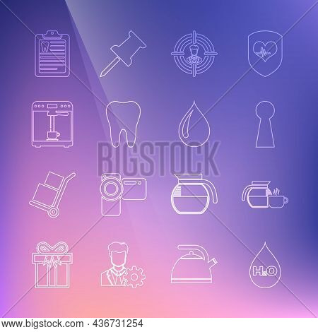 Set Line Water Drop With H2o, Coffee Pot Cup, Keyhole, Head Hunting, Tooth, Machine And, Clipboard D