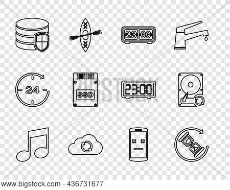 Set Line Music Note, Tone, Waiting, Retro Flip Clock, Cloud Sync Refresh, Database Protection, Ssd C