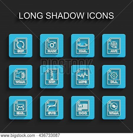 Set Line Eml File Document, Svg, Gif, Doc, Wma, Zip, Dll And Mp3 Icon. Vector