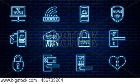 Set Line Heart With Keyhole, Digital Door Lock Wireless, Mobile And Password, Cloud Vpn Interface, S