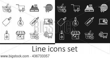 Set Line Shopping Cart, On Laptop, Cash Register Machine, Discount Percent Tag, Label Template Price