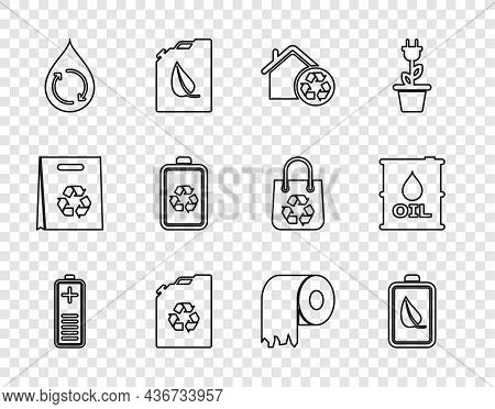 Set Line Battery Charge Level Indicator, Eco Nature Leaf And Battery, House With Recycling, Fuel Can
