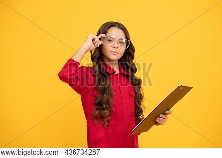 Do Professionally. Teen Girl In Protective Glasses. Child Wear Eyeglasses. Eye Protection.