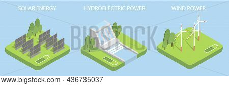 Set With Illustrations About Alternative Energy. Solar Energy. Wind Energy. Energy Of Water.