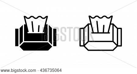 Wet Wipes Packaging Black And Linear Icon Set. Symbol Hygiene And Disinfection Products. Isolated Si
