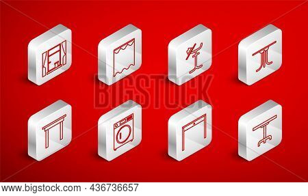 Set Line Round Table, Curtains, Coat Stand, Wooden, Window With Curtains, Washer And Icon. Vector