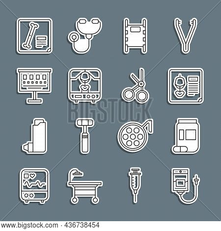 Set Line Iv Bag, Medicine Bottle And Pills, X-ray Shots, Stretcher, Machine, Eye Test Chart, And Med