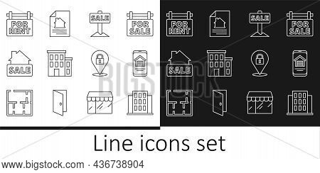 Set Line House, Online Real Estate House, Hanging Sign With Sale, For Rent, Location Lock And Contra