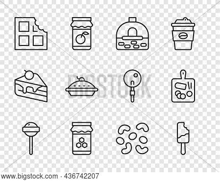 Set Line Lollipop, Ice Cream, Brick Stove, Jar Of Honey, Chocolate Bar, Homemade Pie, Jelly Candy An