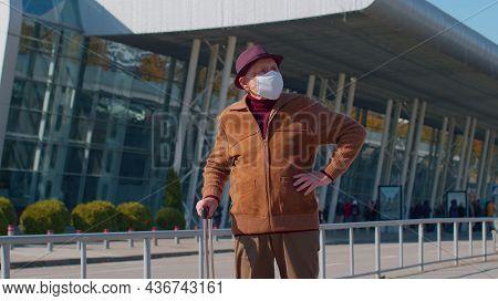 One Unhappy Old Senior Man Grandfather Businessman Wearing Protective Face Mask Covid-19 Coronavirus