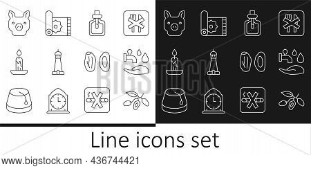 Set Line Date Fruit, Wudhu, Perfume, Mosque Tower Or Minaret, Burning Candle, Pig, And Traditional C