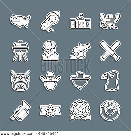 Set Line Donut, Eagle Head, Crossed Baseball Bat, United States Capitol Congress, George Washington,