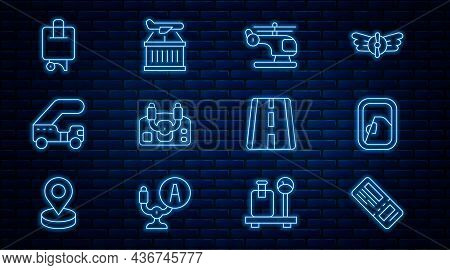 Set Line Airline Ticket, Airplane Window, Helicopter, Aircraft Steering Helm, Passenger Ladder, Suit