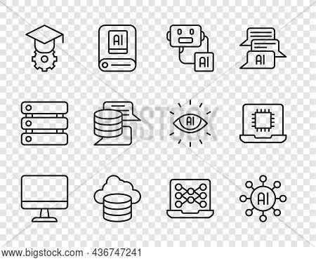 Set Line Computer Monitor, Neural Network, Artificial Intelligence Robot, Cloud Database, Graduation