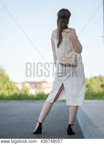 Back View Of Woman With Shopping Bags . Beautiful Brunette Girl In Motion. Backside View Of Person.