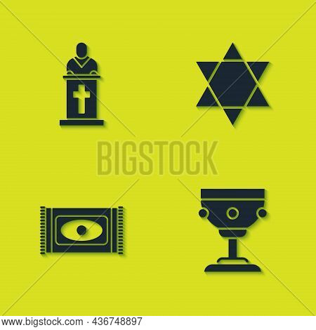 Set Church Pastor Preaching, Christian Chalice, Traditional Carpet And Star Of David Icon. Vector