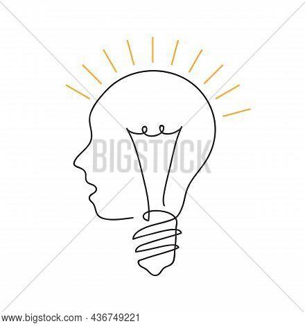Human Head Lightbulb Glows. Idea Concept. Continuous Line Art Drawing. Hand Drawn Doodle Vector Illu