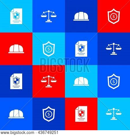 Set Contract With Shield, Scales Of Justice, Worker Safety Helmet And Shield Dollar Icon. Vector