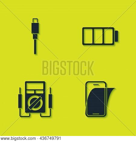 Set Usb Cable Cord, Glass Screen Protector, Multimeter And Battery Icon. Vector