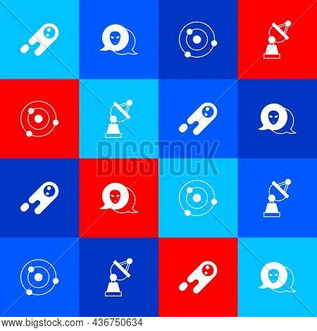 Set Comet Falling Down Fast, Alien, Solar System And Satellite Dish Icon. Vector