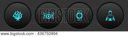 Set Coral, Photo Camera For Diver, Diving Watch And Wetsuit Scuba Diving Icon. Vector
