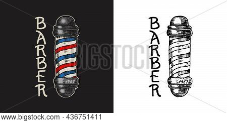 Poles With Stripes Barber Shop Badge And Label, Logo And Hipster Emblems. Haircut Of Beard And Musta
