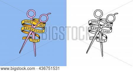Scissors And Ribbon. Barber Shop Badge And Label, Logo And Hipster Emblems. Haircut Of Beard And Mus