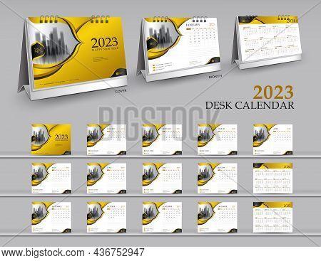 Calendar 2023 Template Set On Gold Background, Calendar 2024-2025 Year, 3d Mockup Desk Calendar 2023