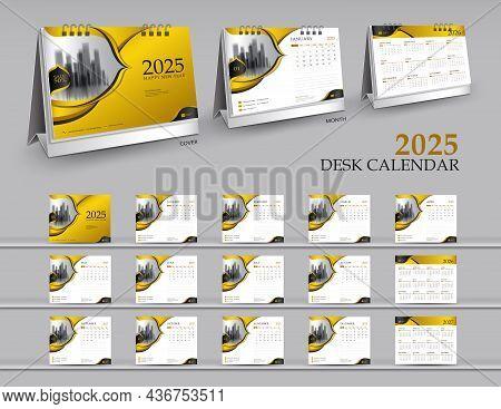 Calendar 2025 Template Set On Gold Background, Calendar 2026-2027 Year, 3d Mockup Desk Calendar 2025