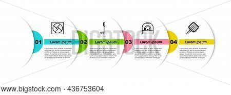 Set Line Ventilation, Kitchen Ladle, Oven And Frying Pan. Business Infographic Template. Vector